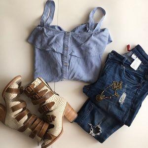 White & blue button down shirt